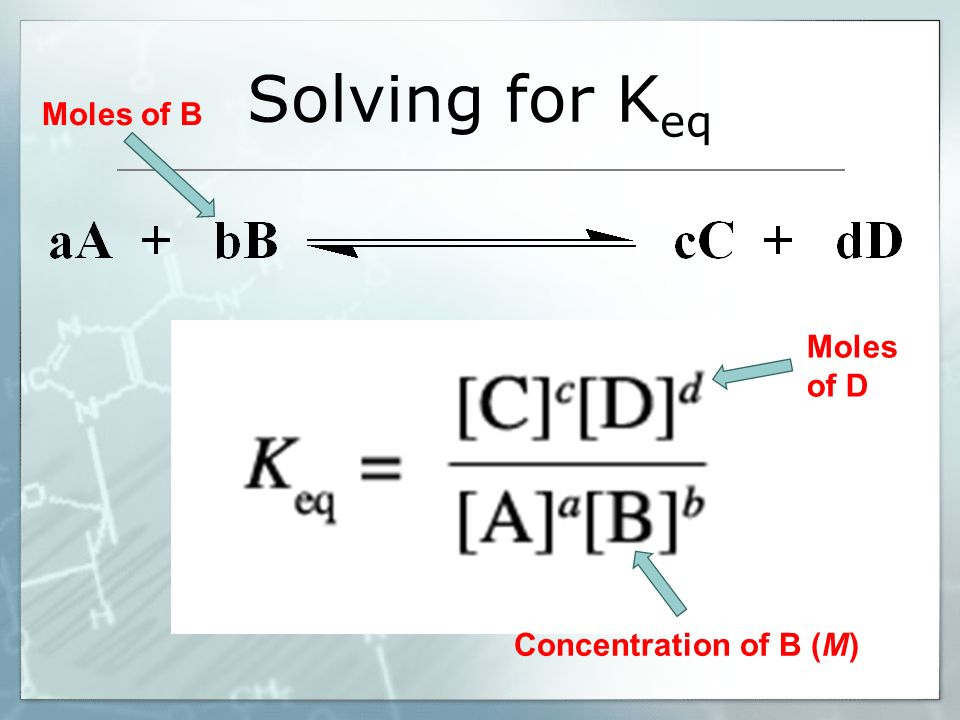 Solving for Keq Moles of B Moles of D Concentration of B (M)