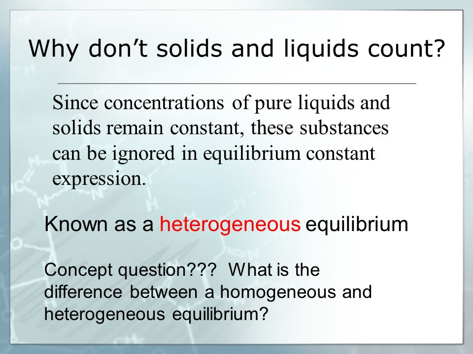 Why don't solids and liquids count
