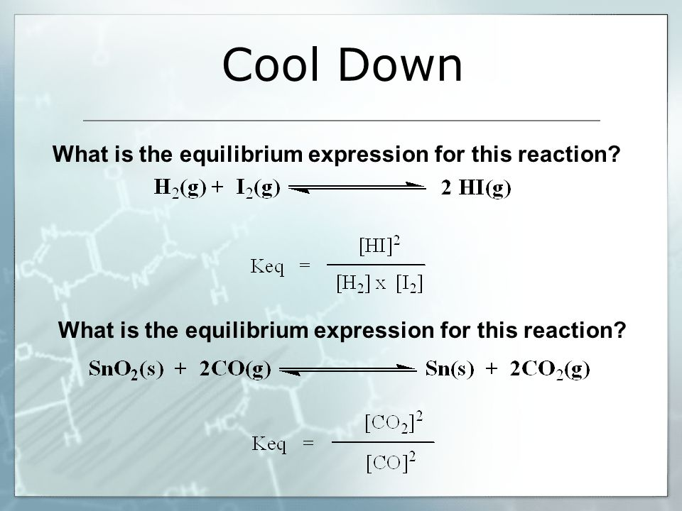 Cool Down What is the equilibrium expression for this reaction