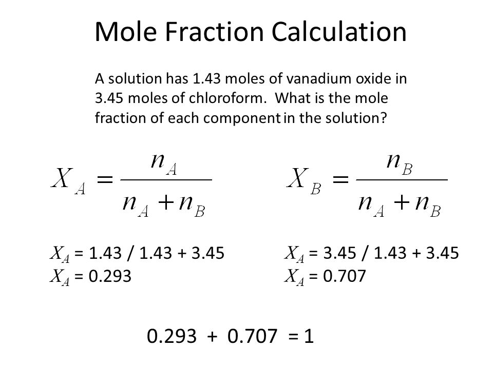 Mole Fraction Calculation