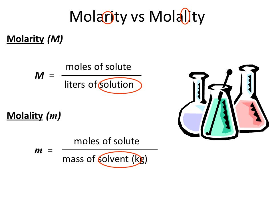 Molarity vs Molality Molarity (M) moles of solute M =