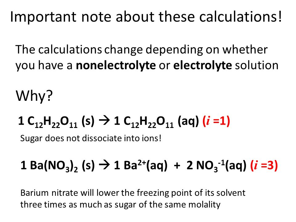 Important note about these calculations!