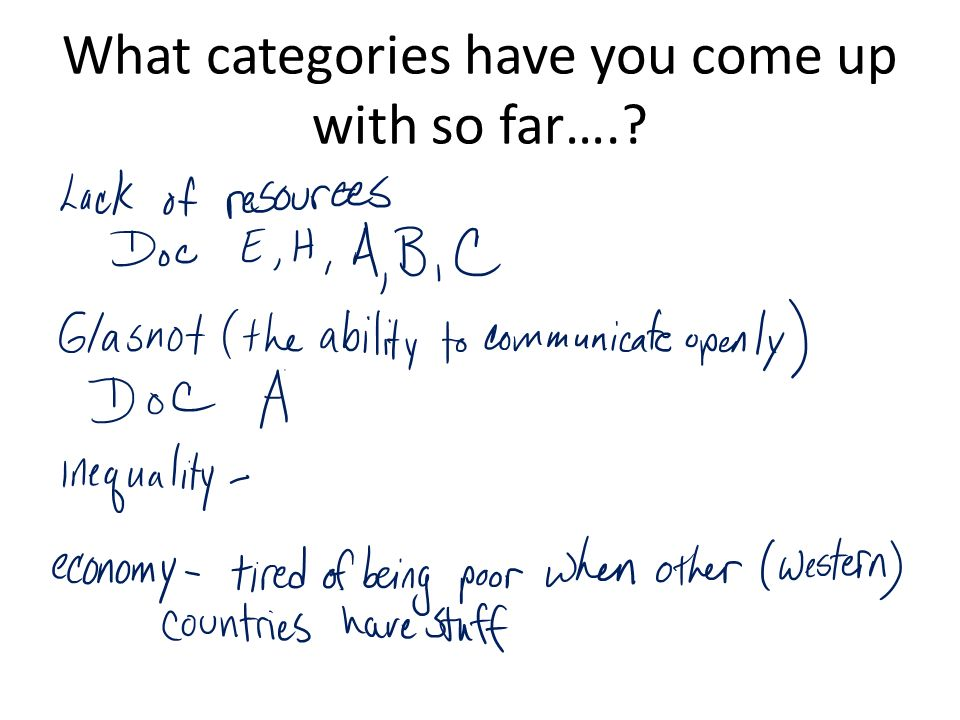 What categories have you come up with so far….