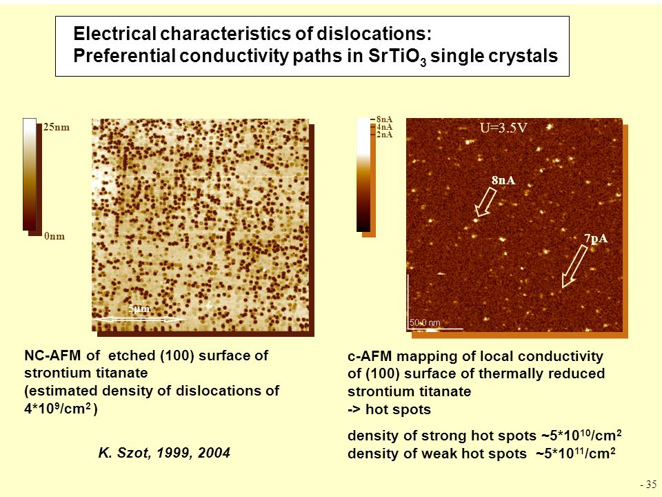 Electrical characteristics of dislocations: Preferential conductivity paths in SrTiO3 single crystals