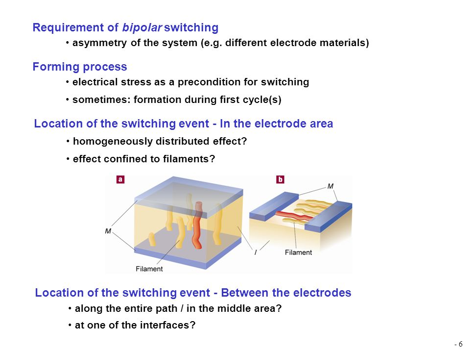 Requirement of bipolar switching