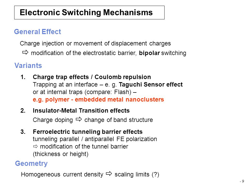 Electronic Switching Mechanisms