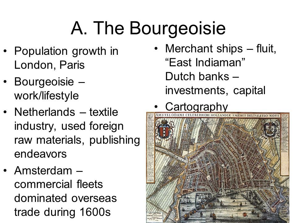 A. The Bourgeoisie Merchant ships – fluit, East Indiaman Dutch banks – investments, capital. Cartography.