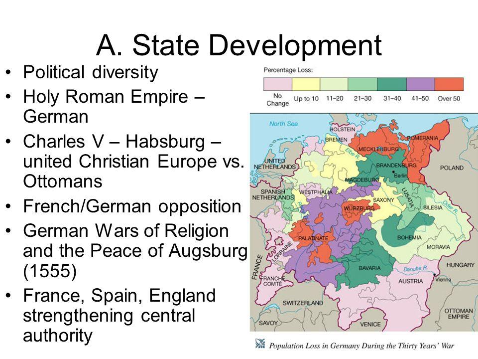 A. State Development Political diversity Holy Roman Empire – German