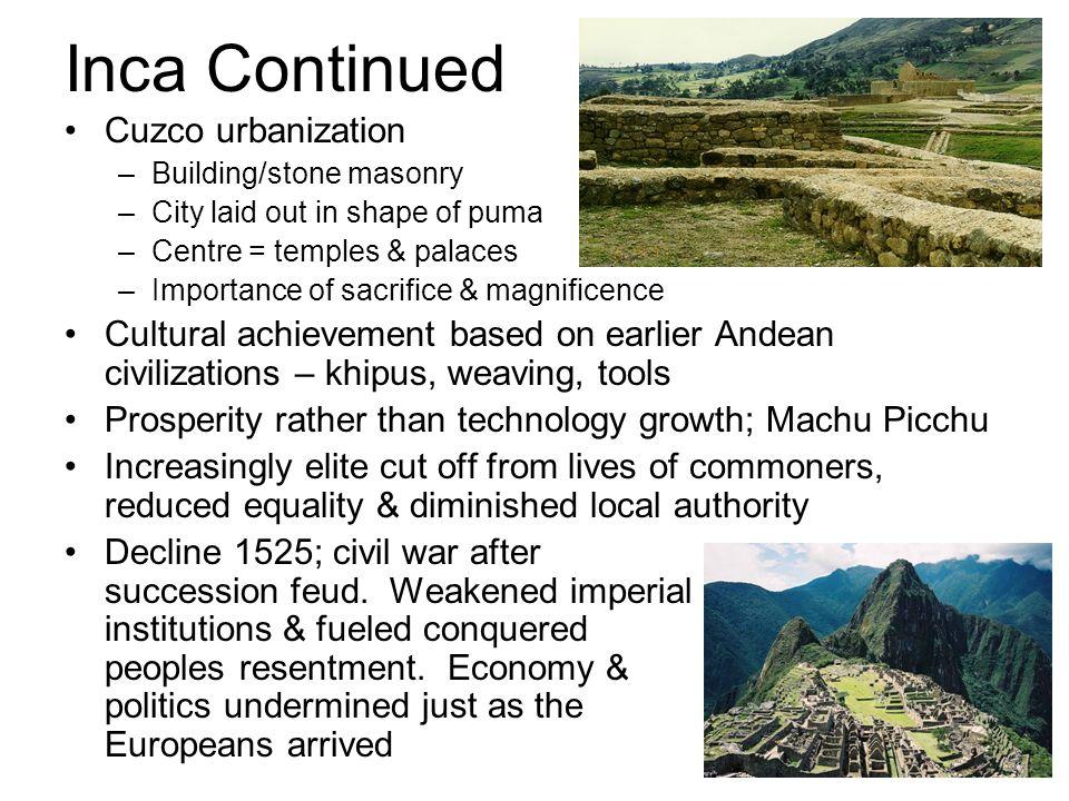 Inca Continued Cuzco urbanization
