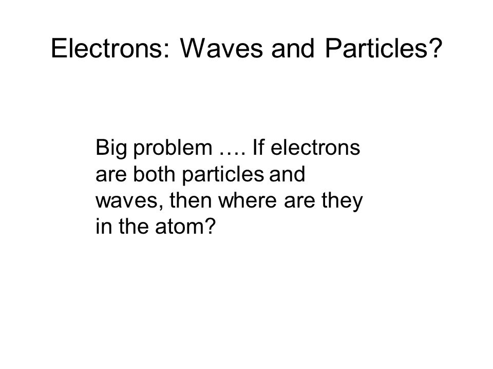 Electrons: Waves and Particles
