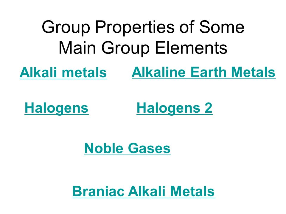 Group Properties of Some Main Group Elements