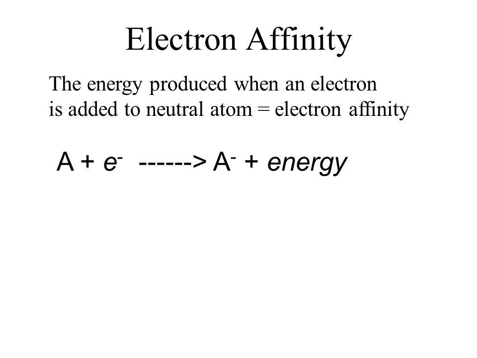 Electron Affinity A + e- ------> A- + energy