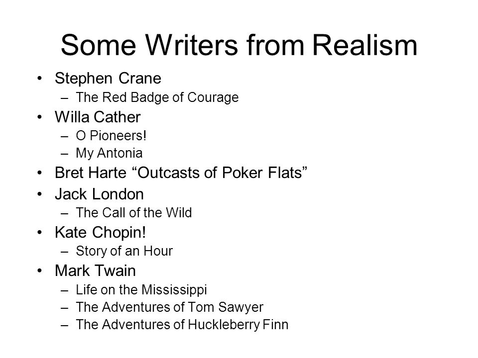 Some Writers from Realism