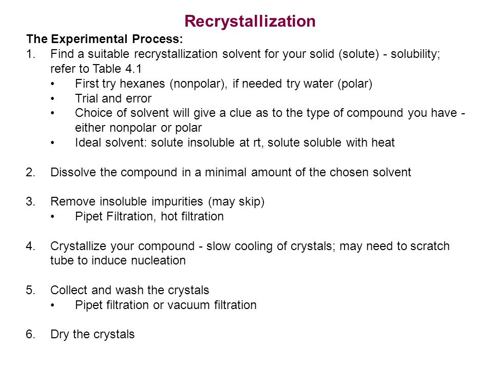 an experiment about the process of recrystallizing an impure compound For example, if you wanted to purify a sample of compound x which is  there  are five major steps in the recrystallization process: dissolving the solute in the   add a small portion of boiling solvent to the beaker that contains the impure.