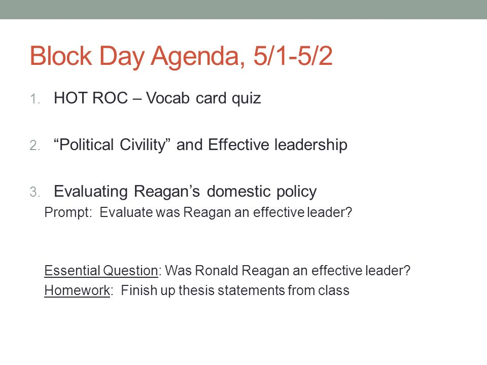 Block Day Agenda, 5/1-5/2 HOT ROC – Vocab card quiz