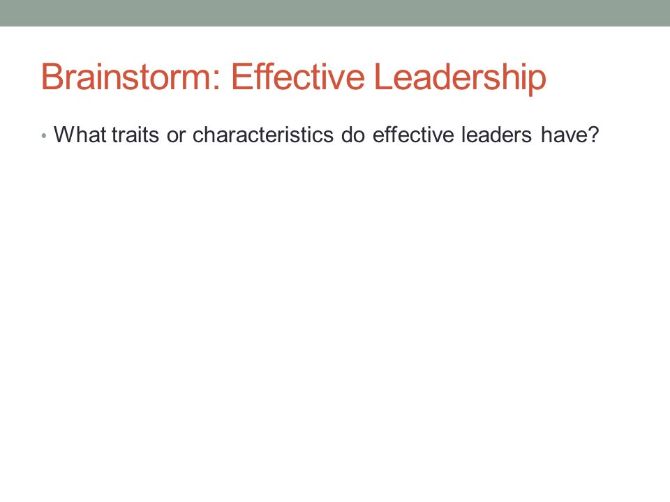 Brainstorm: Effective Leadership