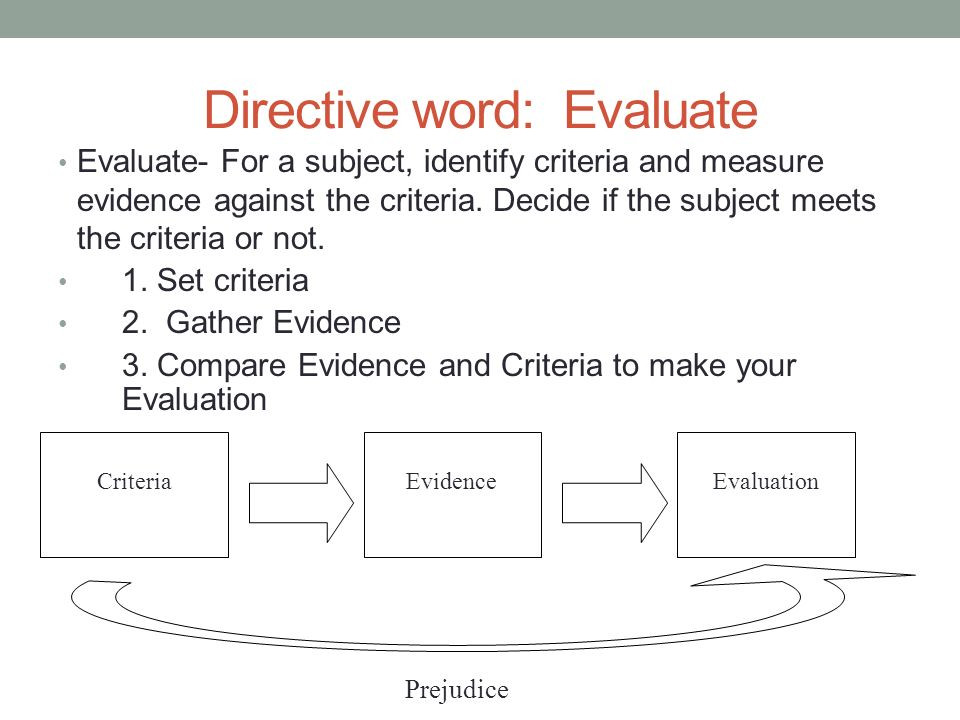 Directive word: Evaluate