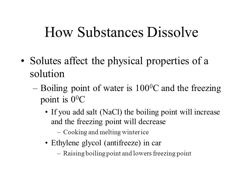 does salt affect the freezing point Pressure also affects freezing temperature (a little) and boiling temperatures (a  lot) this page gives a  why do they salt the roads when it snows how does.