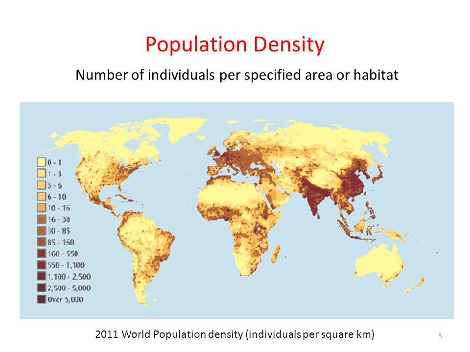 Population Density Number of individuals per specified area or habitat