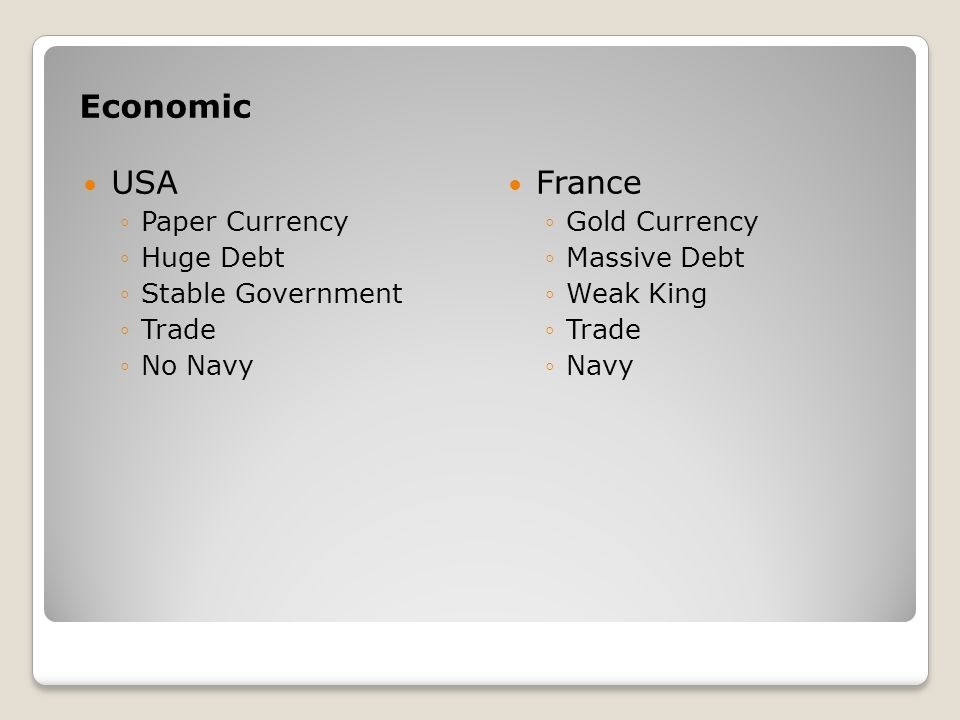 Economic USA France Paper Currency Huge Debt Stable Government Trade