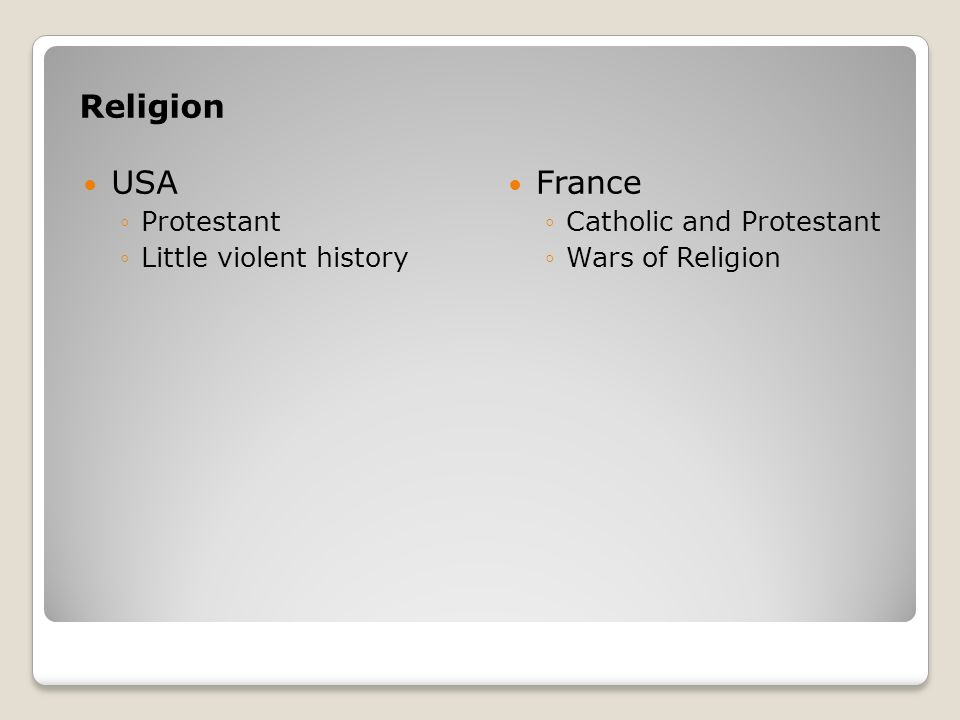 Religion USA France Protestant Little violent history