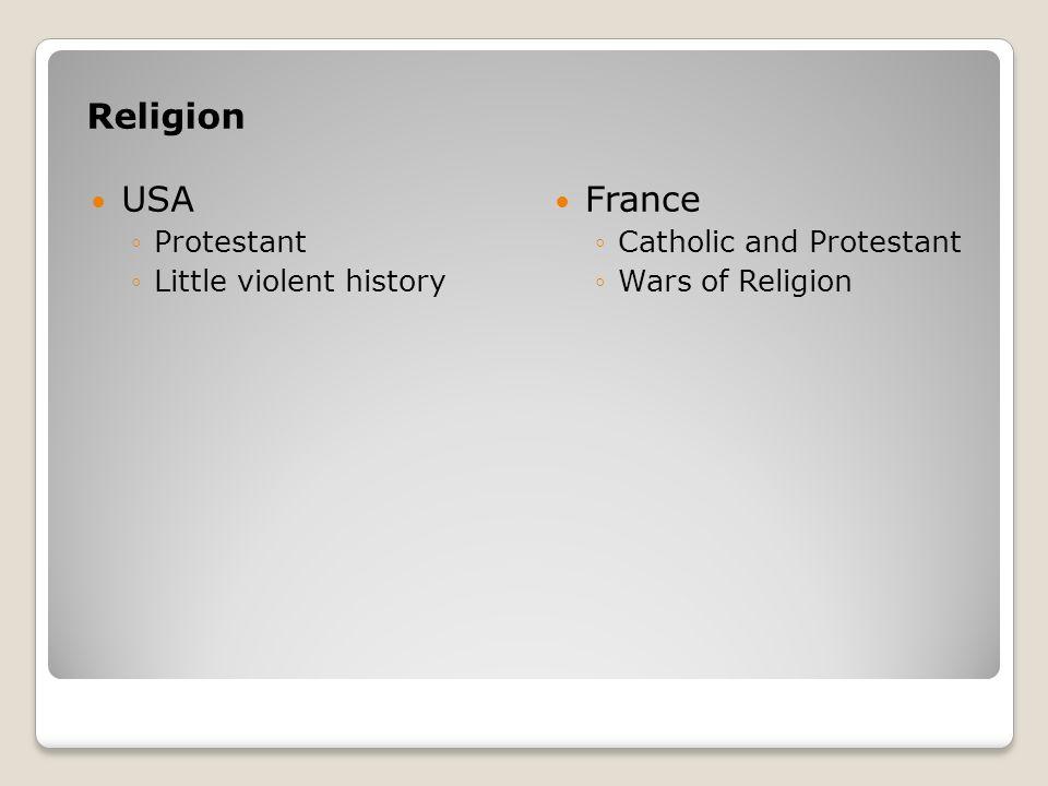 Religion USA France Protestant Little violent history