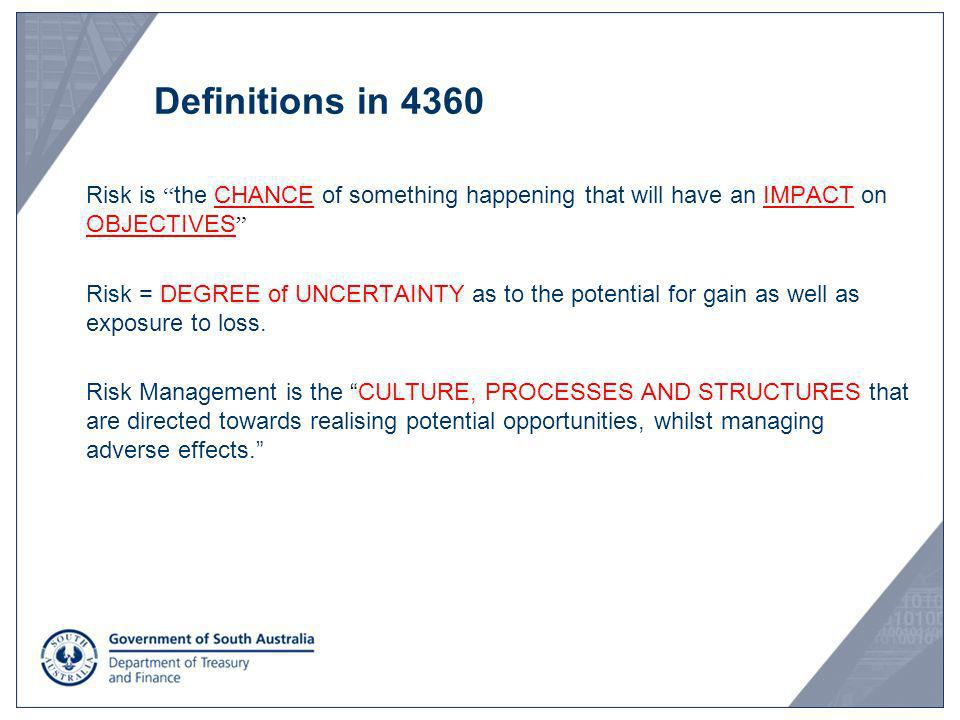 Definitions in 4360 Risk is the CHANCE of something happening that will have an IMPACT on OBJECTIVES