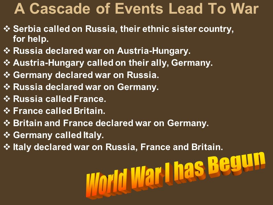 A Cascade of Events Lead To War