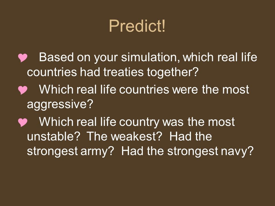 Predict! Based on your simulation, which real life countries had treaties together Which real life countries were the most aggressive