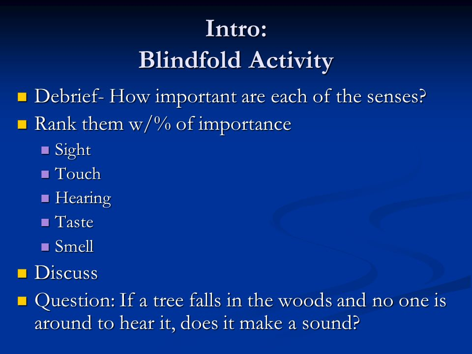 Intro: Blindfold Activity