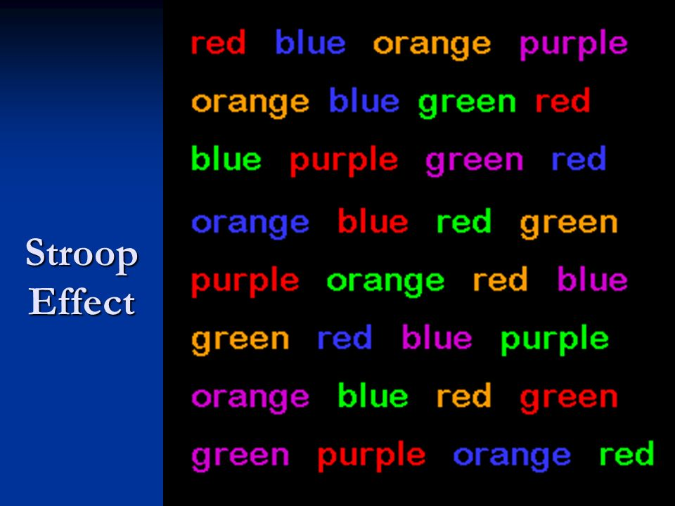 Stroop Effect Name the color of the words, why is this a challenge