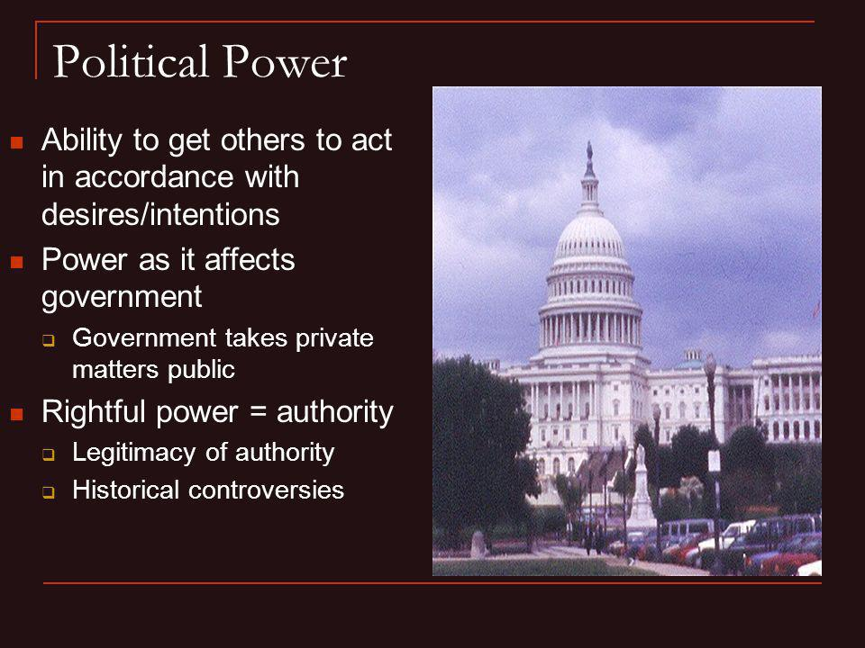 Political Power Ability to get others to act in accordance with desires/intentions. Power as it affects government.