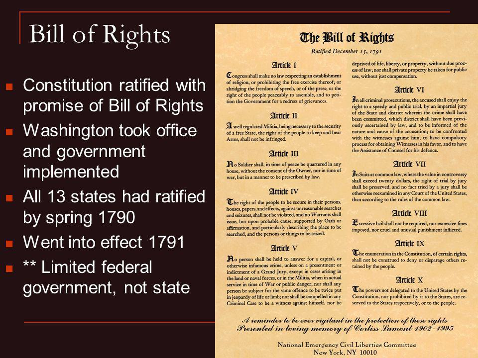 Bill of Rights Constitution ratified with promise of Bill of Rights
