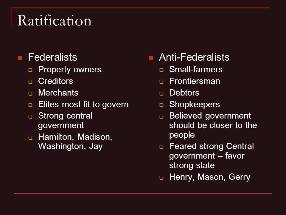 Ratification Federalists Anti-Federalists Property owners Creditors