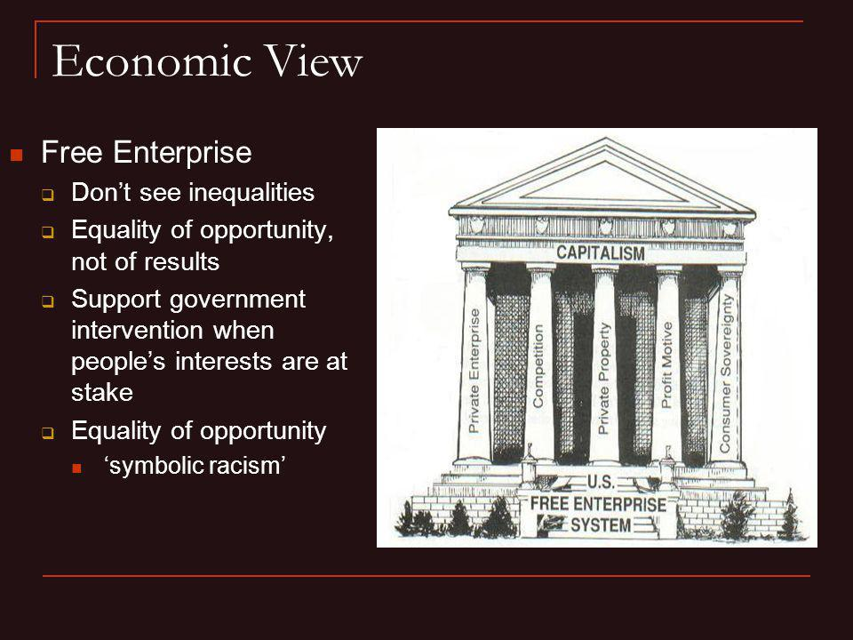 Economic View Free Enterprise Don't see inequalities