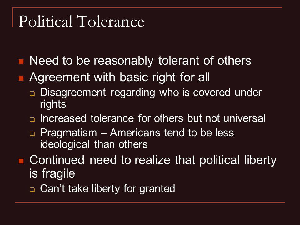 Political Tolerance Need to be reasonably tolerant of others
