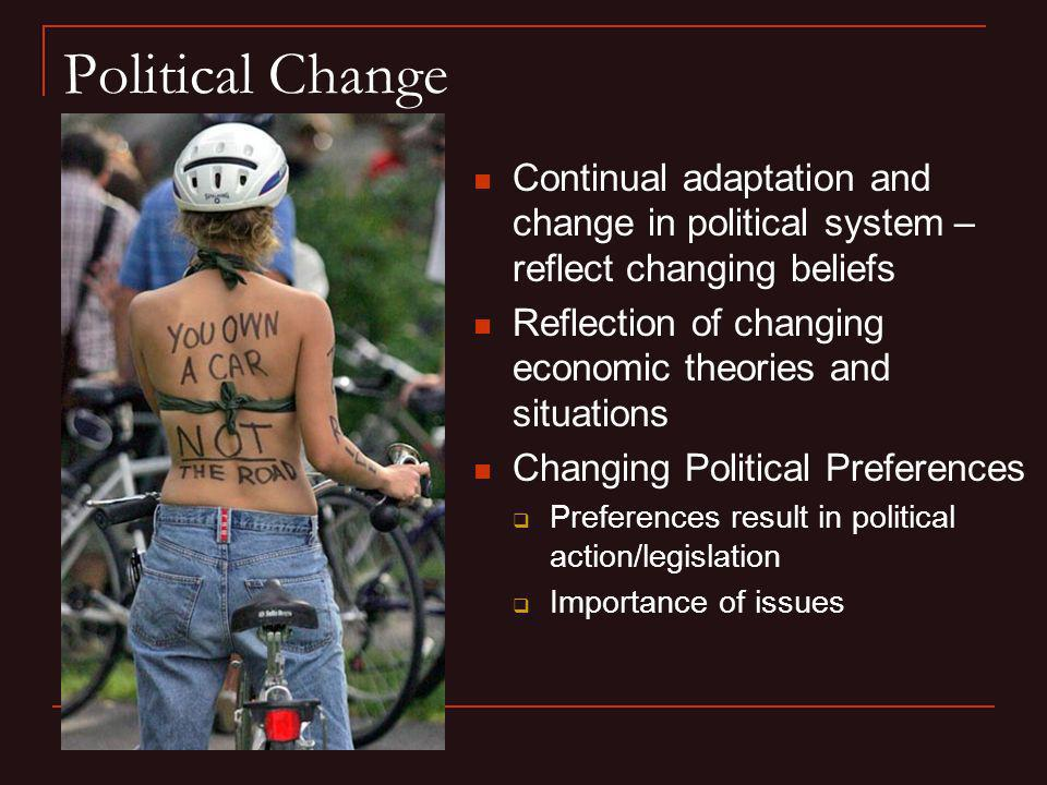 Political Change Continual adaptation and change in political system – reflect changing beliefs.