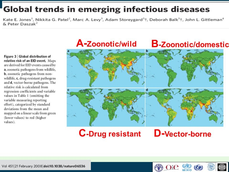 A-Zoonotic/wild B-Zoonotic/domestic C-Drug resistant D-Vector-borne