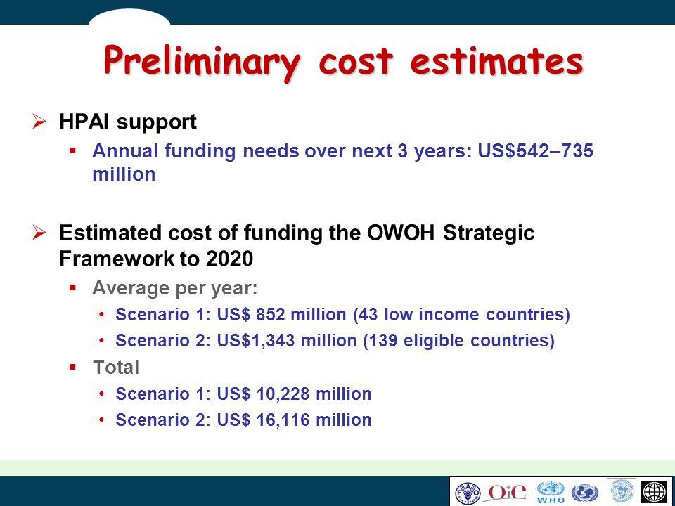 Preliminary cost estimates