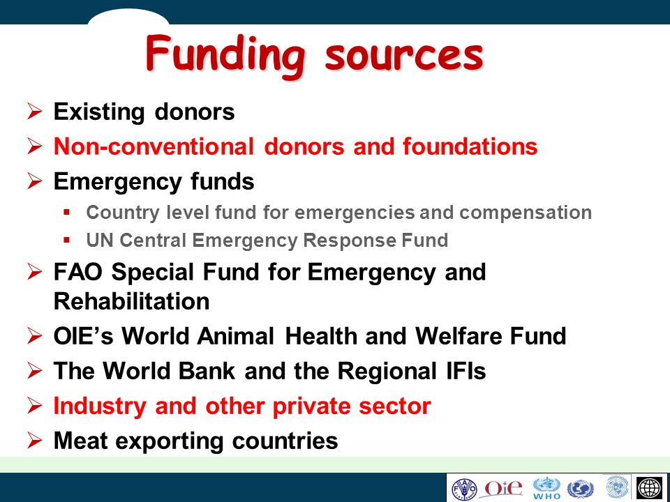 Funding sources Existing donors