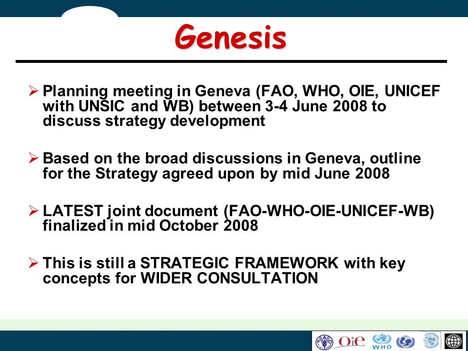 Genesis Planning meeting in Geneva (FAO, WHO, OIE, UNICEF with UNSIC and WB) between 3-4 June 2008 to discuss strategy development.