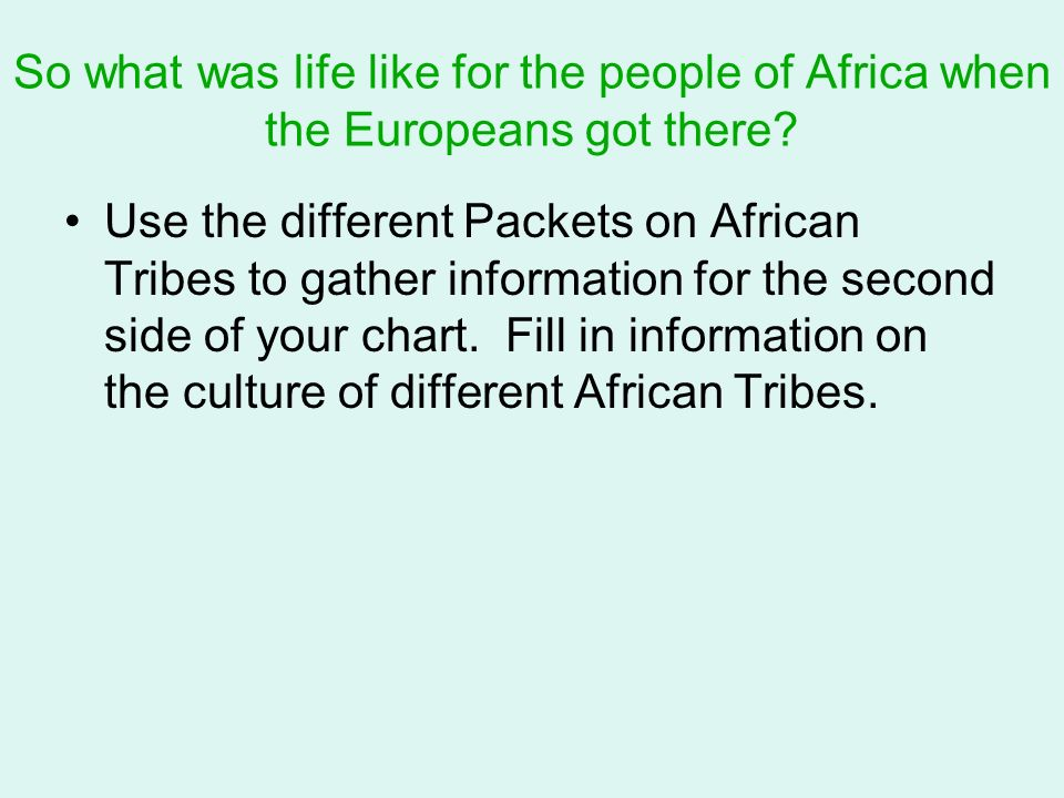 So what was life like for the people of Africa when the Europeans got there