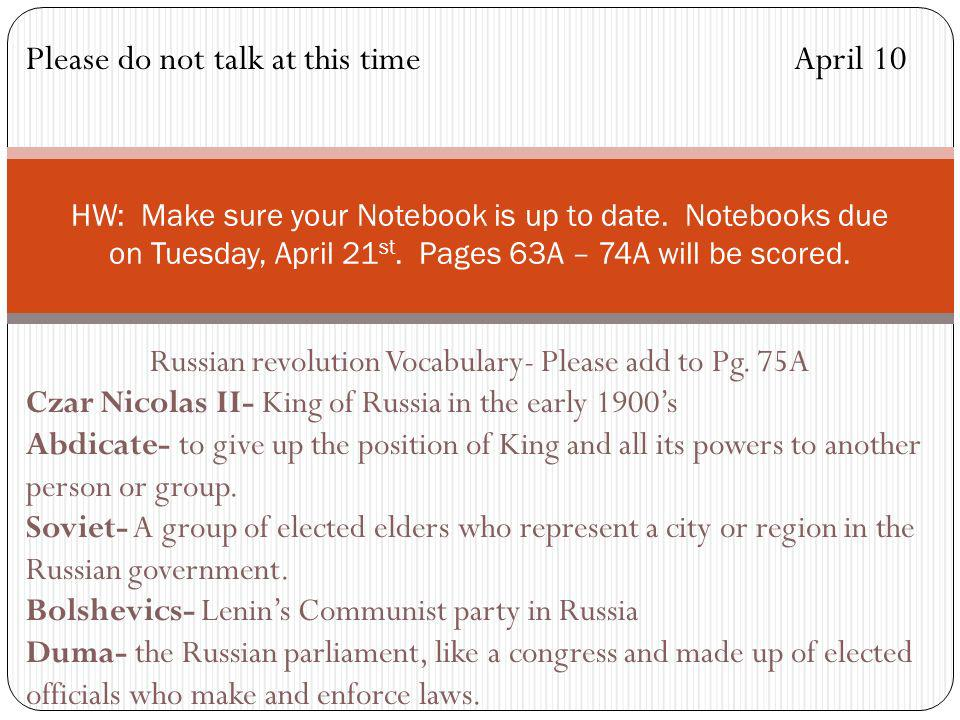 Russian revolution Vocabulary- Please add to Pg. 75A
