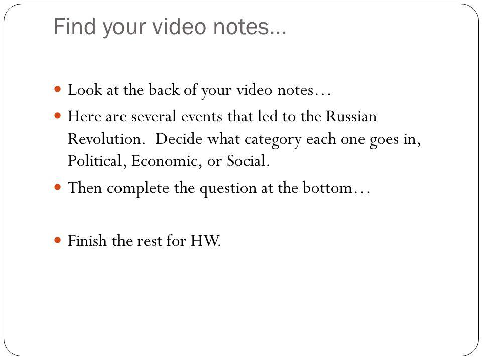 Find your video notes… Look at the back of your video notes…