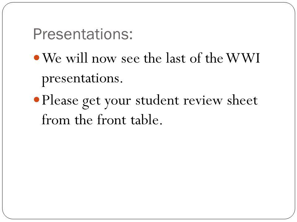 Presentations:We will now see the last of the WWI presentations.