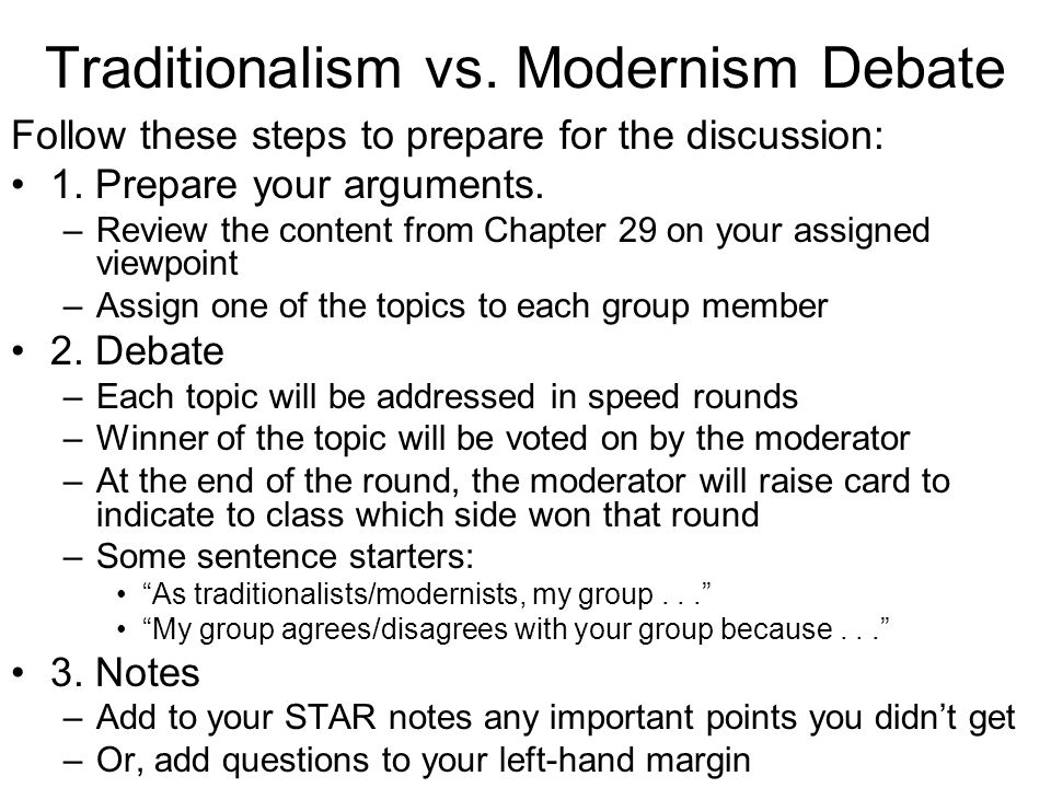 Traditionalism vs. Modernism Debate