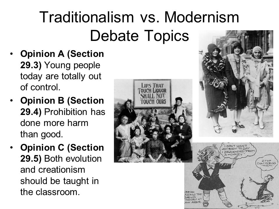 an analysis of the tension between the traditionalists and the modernists in the 1920s But that analysis can be definitive only to those who believe  friedman's proposal does illustrate the tension between economic and  in the 1920s and.