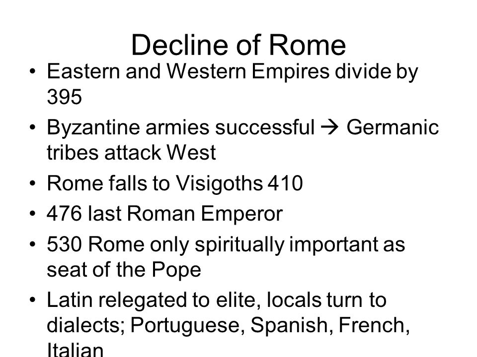 Decline of Rome Eastern and Western Empires divide by 395