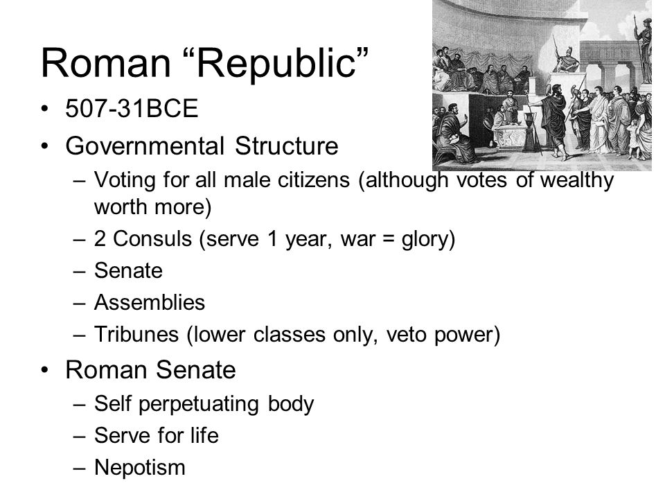 Roman Republic 507-31BCE Governmental Structure Roman Senate