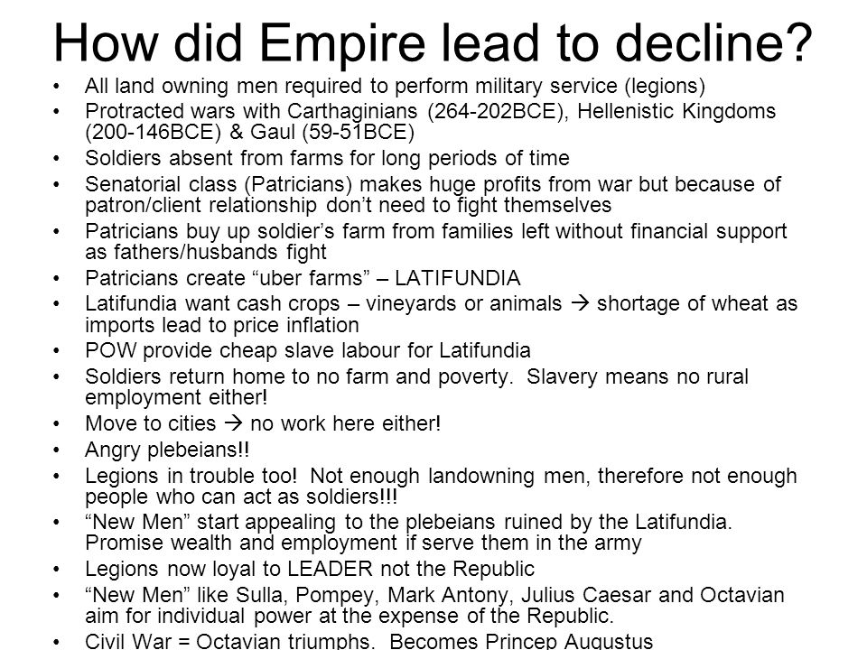 How did Empire lead to decline